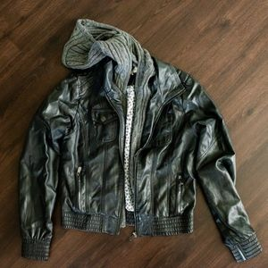 JJ Winter Leather Jacket w/Removable Knitted Seam